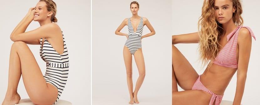 bañador y bikini estampado rayas