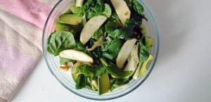 Ensalada de espinacas, manzana y aguacate
