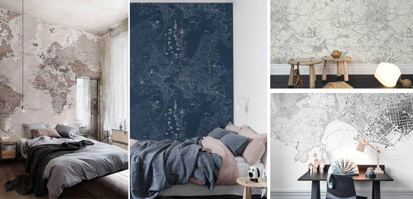 Mapas decorando la pared