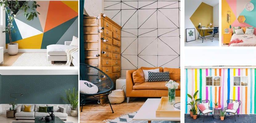 Murales de pared con patrones geométricos