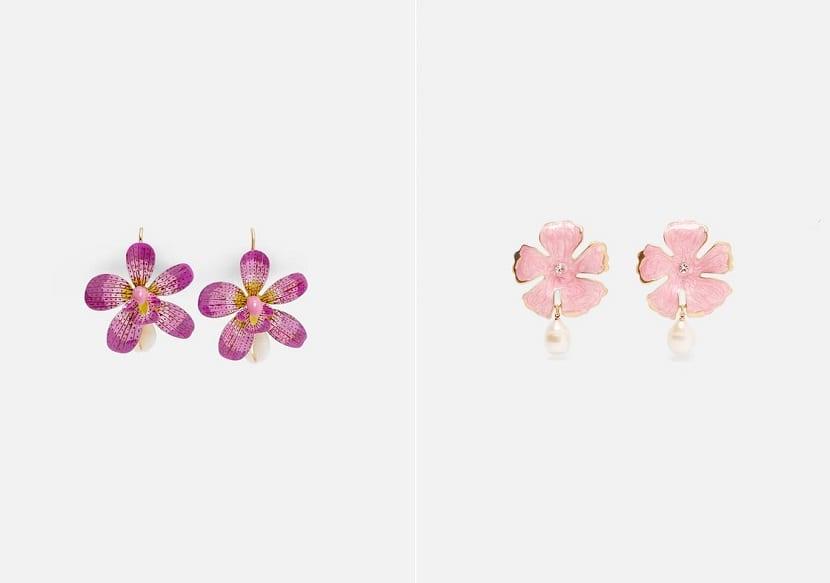 Pendientes de flores Zara