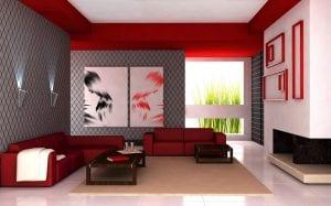 Salón sofá en color rojo