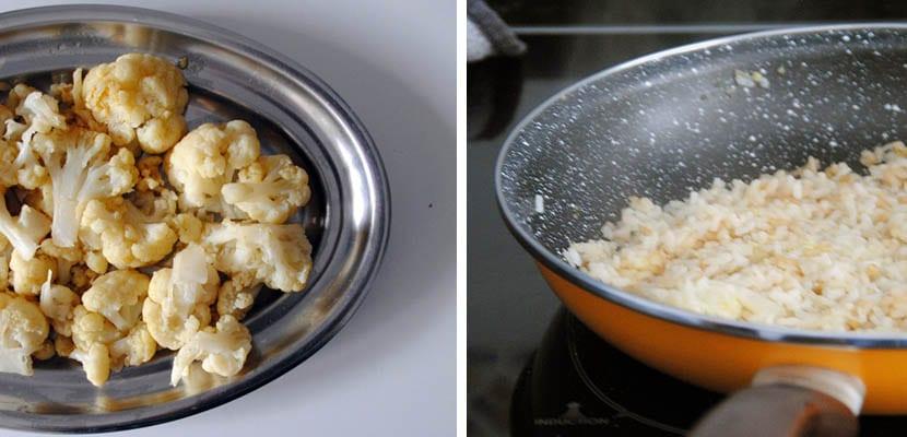 Coliflor con arroz