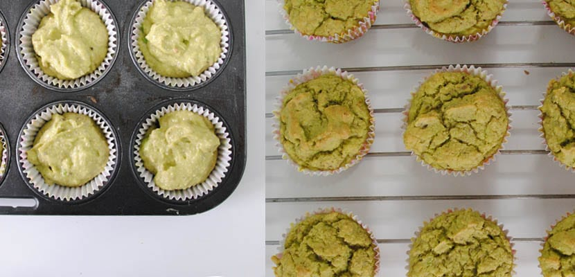 Muffins de aguacate y pistachos