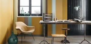 Oficina con tonos ocre