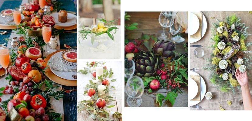 Centros de mesa con frutos
