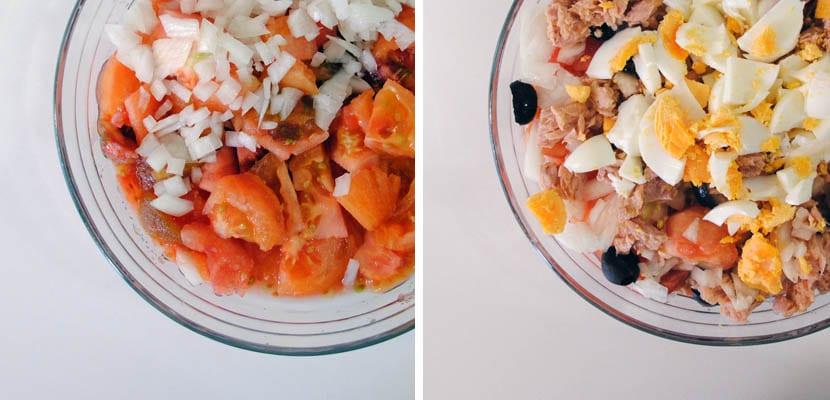 Ensalada manchega de tomate, atún y aceitunas negras
