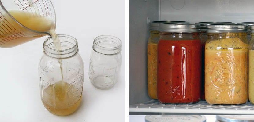 Frascos de vidrio para congelar