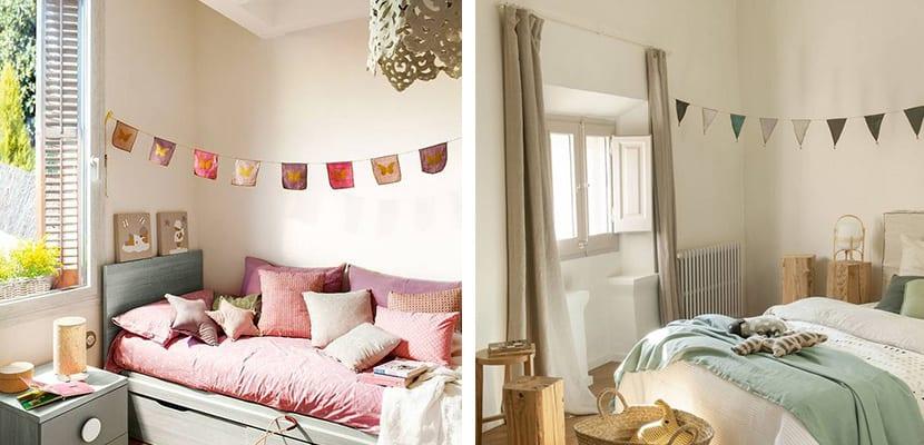 Dormitorio con guirnaldas