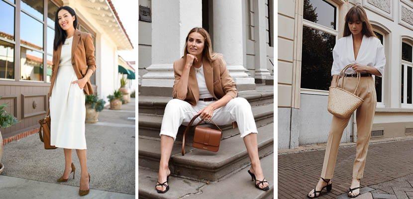 Looks de verano/otoño en blanco y camel