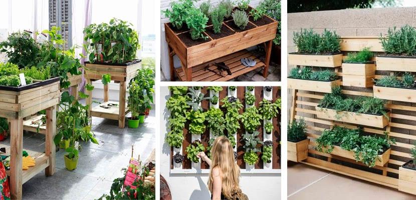 Mesas de cultivo y jardines verticales