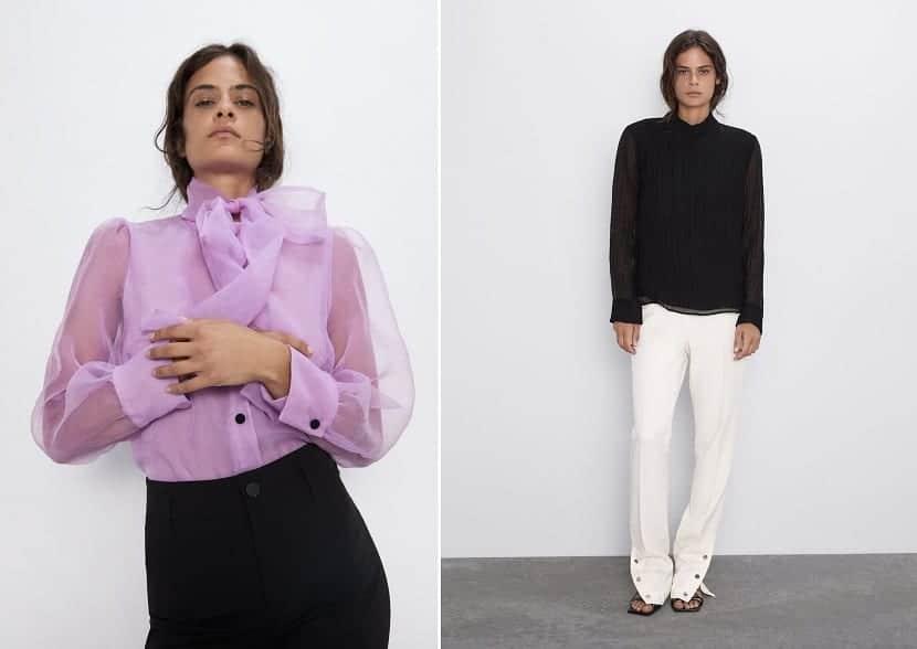 blusa con mangas transparentes