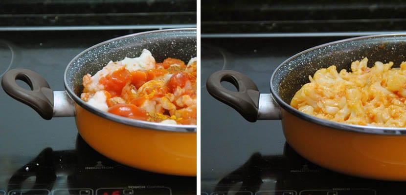 Coliflor especiada en salsa de tomate y yogur