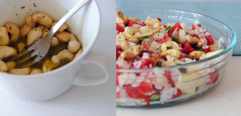 Ensalada de arroz con calabacín, tomate y anacardos