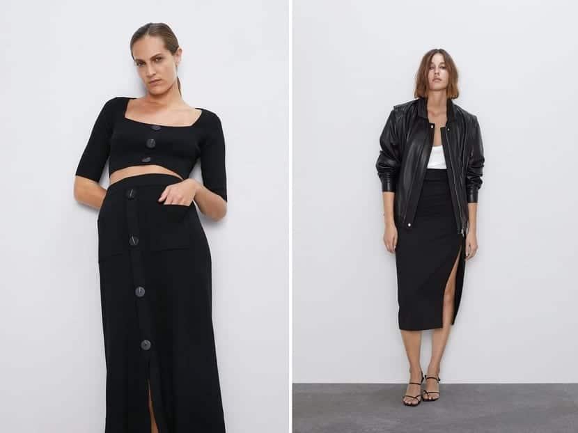 Falda tubo en color negro