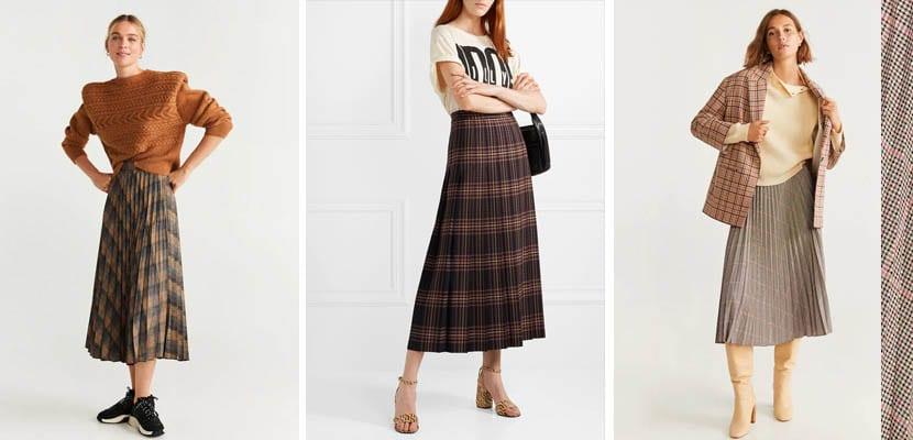 9 faldas plisadas con estampado de cuadros para el otoño