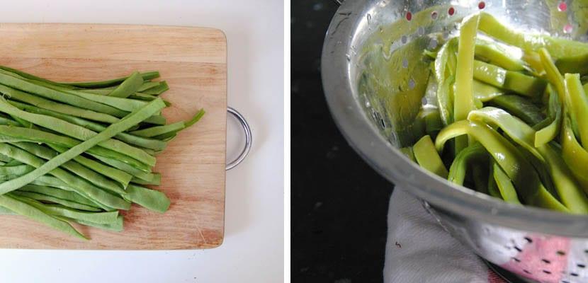 Judías verdes con tomate. jamón y almendras