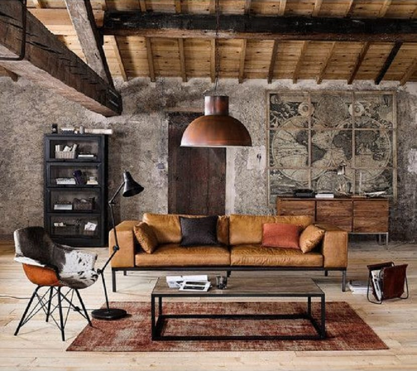 Salón con estilo industrial