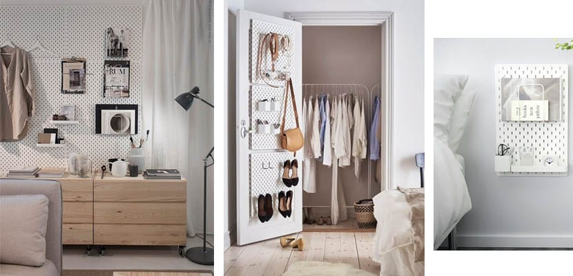 Skadis de Ikea en el dormitorio