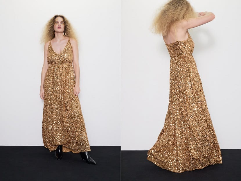 vestido lentejuelas doradas