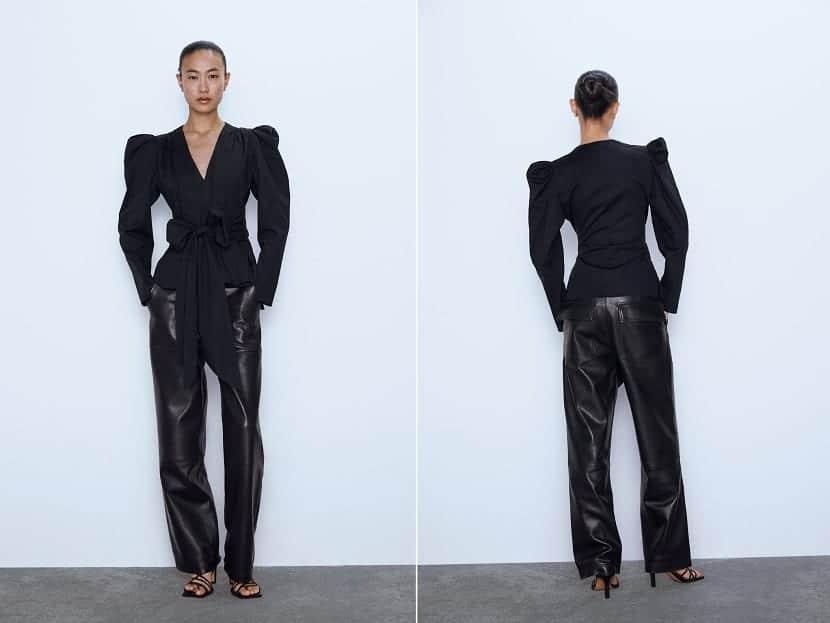 blusa cruzada color negro