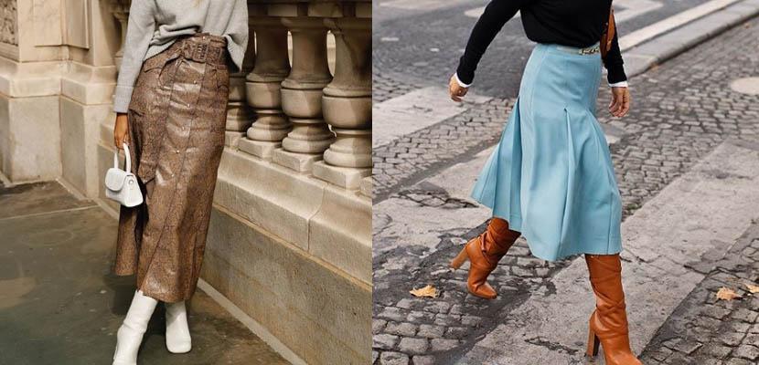 Botas altas y falda