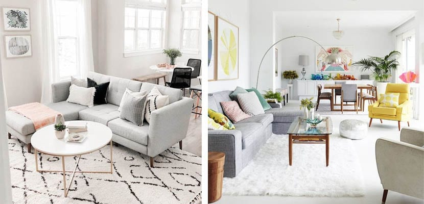 Sofás chaise longue para separar ambientes