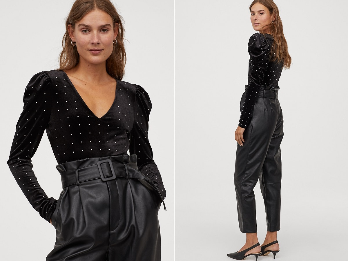 body terciopelo pantalon negro