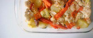 Guarnición de coliflor, zanahorias y patatas