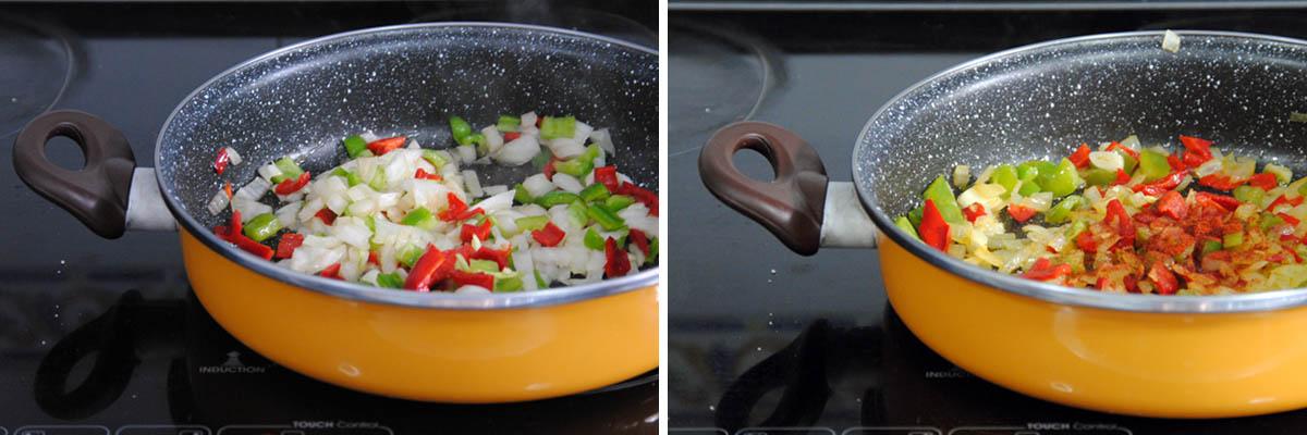 Guiso fácil de coliflor, patatas y pimientos asados