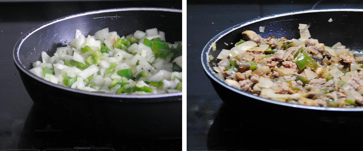 Pimientos rellenos de carne y champiñones
