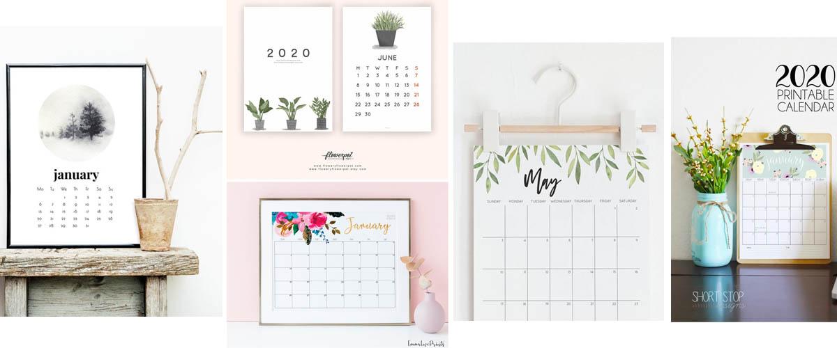 Calendarios imprimibles florales