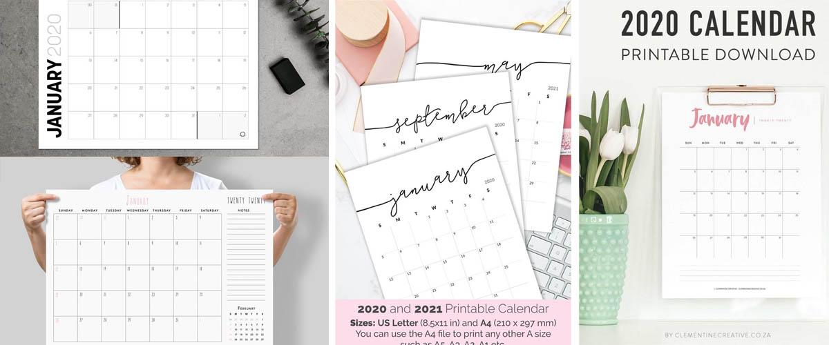 Calendarios imprimibles minimalistas