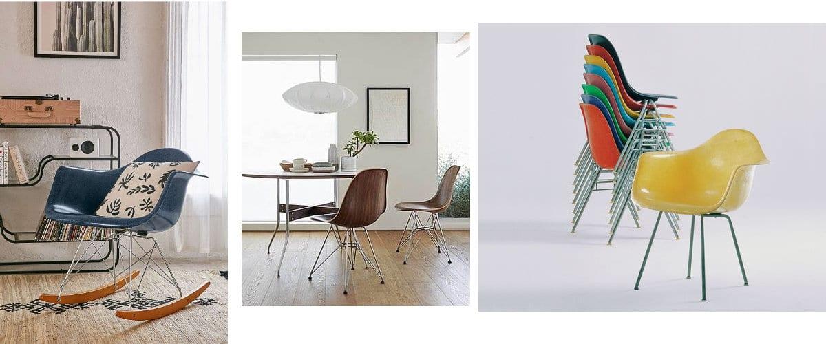 Sillas Eames en madera y fibra de vidrio