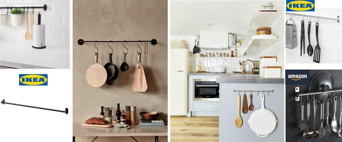 Barras metálicas para utensilios de cocina