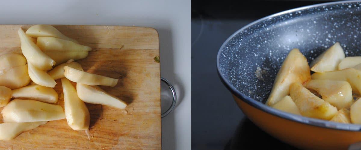 Peras caramelizadas con queso mascarpone