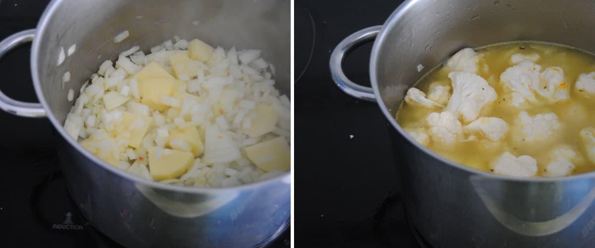 Crema de coliflor especiada con setas
