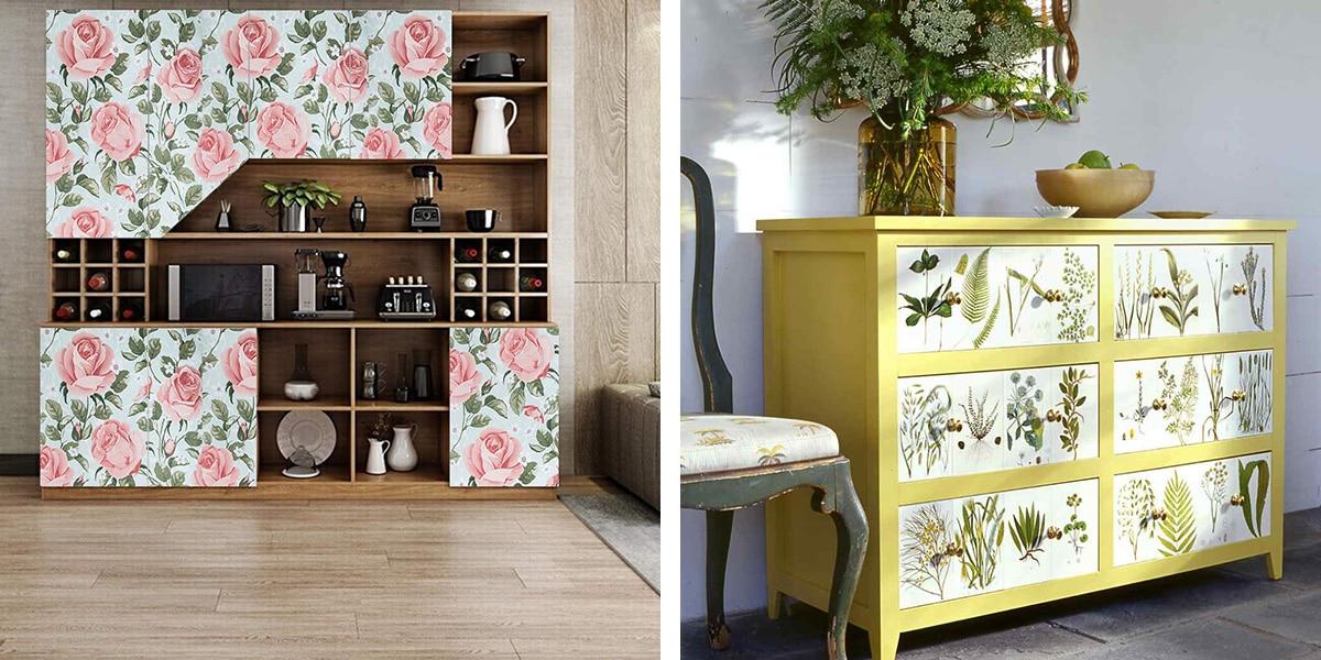 Papel pintado en muebles