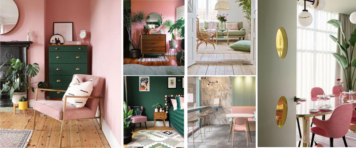 Decoración en rosa y verde