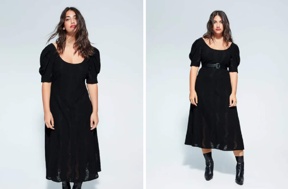 vestido negro encajes