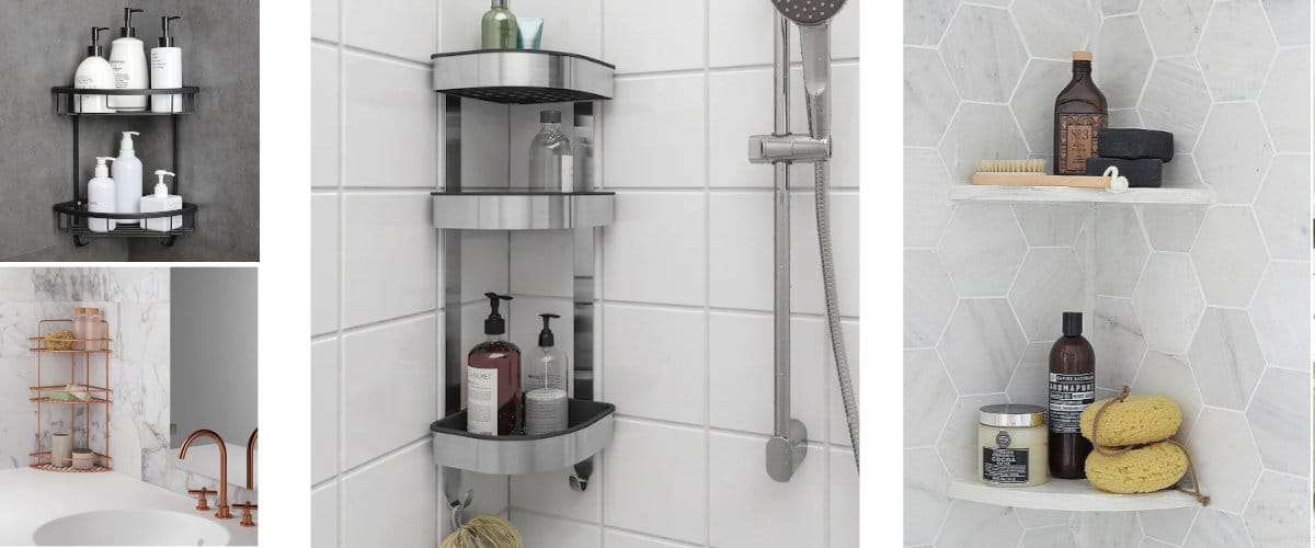 Almacenaje en esquina para la ducha