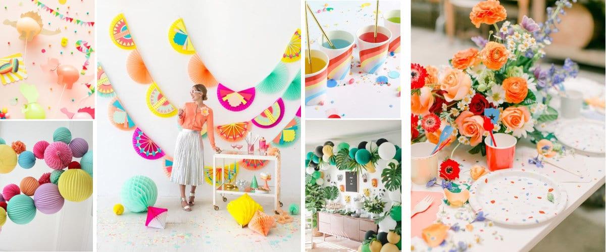 Colores para la decoración de una fiesta de cumpleaños