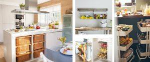 Organizar frutas y verduras en la cocina