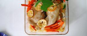 Pollo asado ras el hanout con verduras