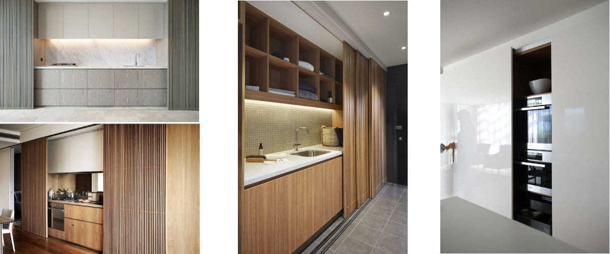 Cocinas ocultas con puertas correderas
