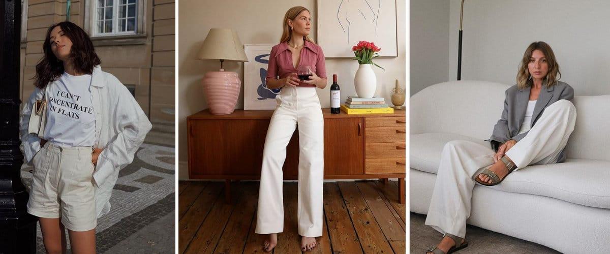 Estilismos de primavera con pantalones blancos