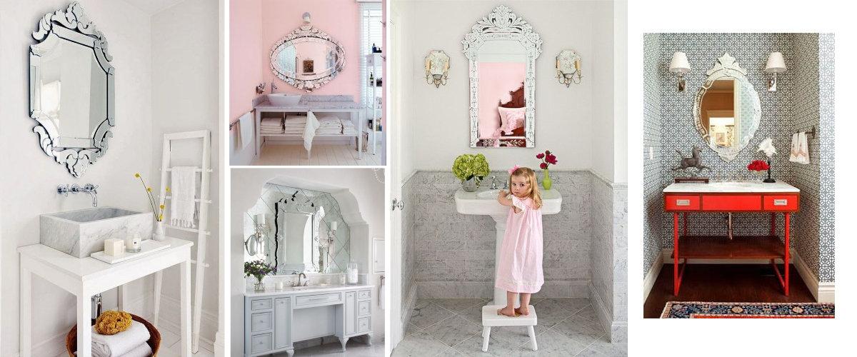 Espejos venecianos en el baño