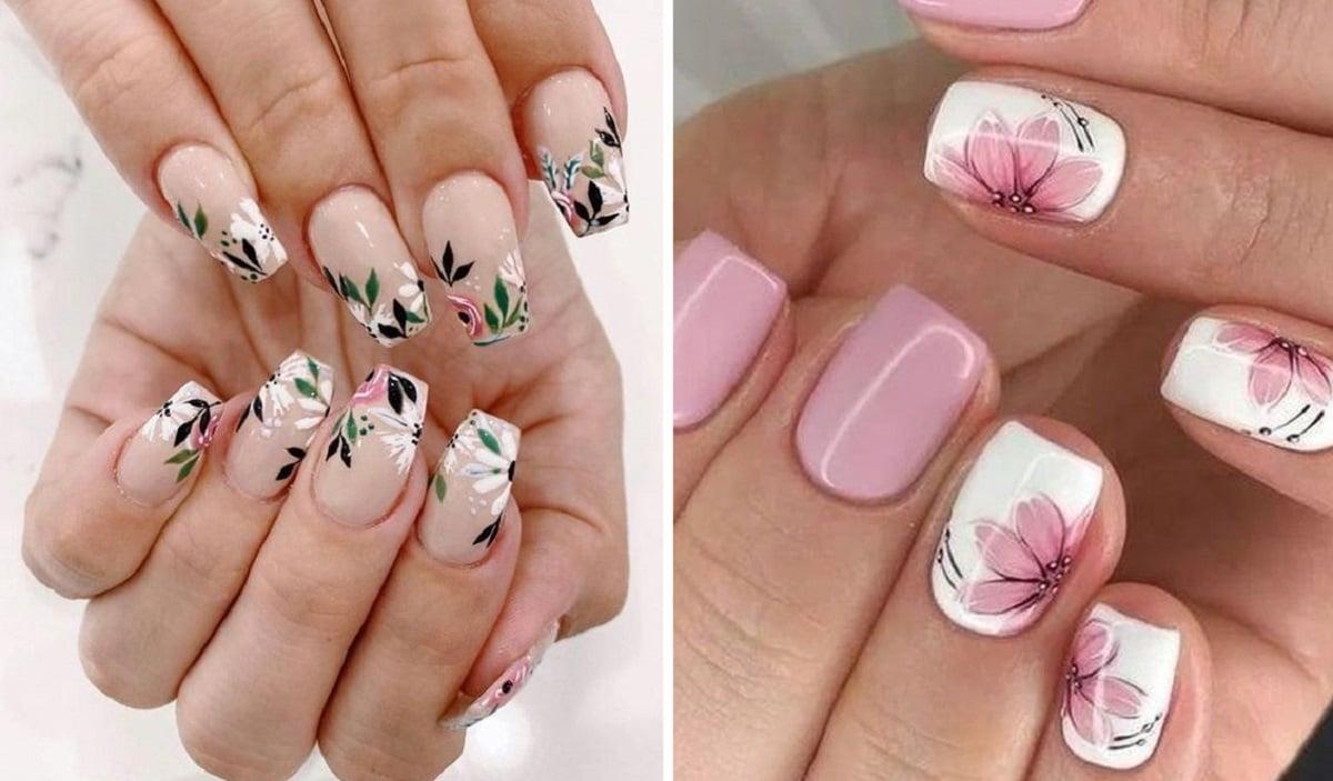 manicura floral tonos rosados