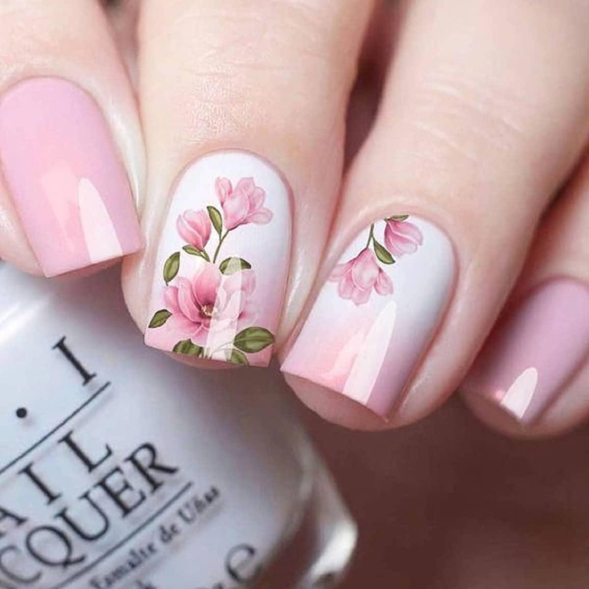 Uñas de porcelana flores