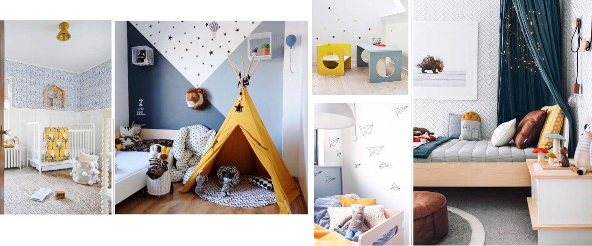Dormitorios infantiles azules y amarillos